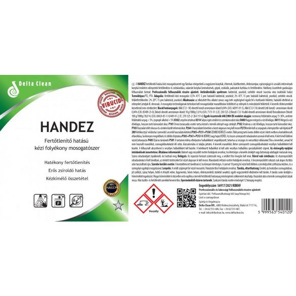 Handez 1L - Fertőtlenítő hatású kézi mosogatószer