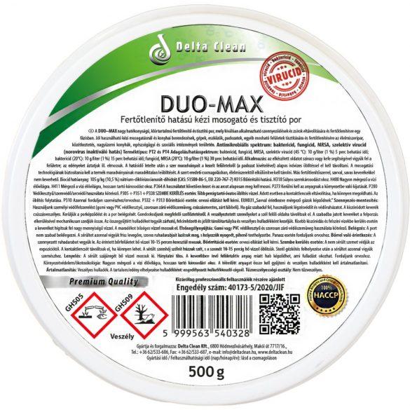 Duo-Max 500 g - Fertőtlenítő hatású kézi mosogató és tisztítópor