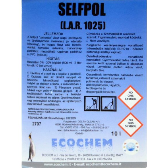 Selfpol 10L - Önfényező padlófelmosó