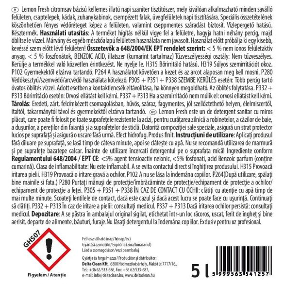 Lemon Fresh 5L - Citromsavas szanitertisztító