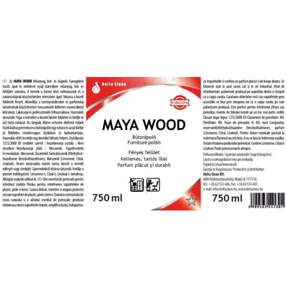 Maya Wood 750 ml - Narancsolajos bútorápoló